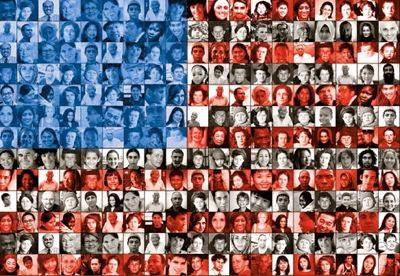 USA flag with people faces