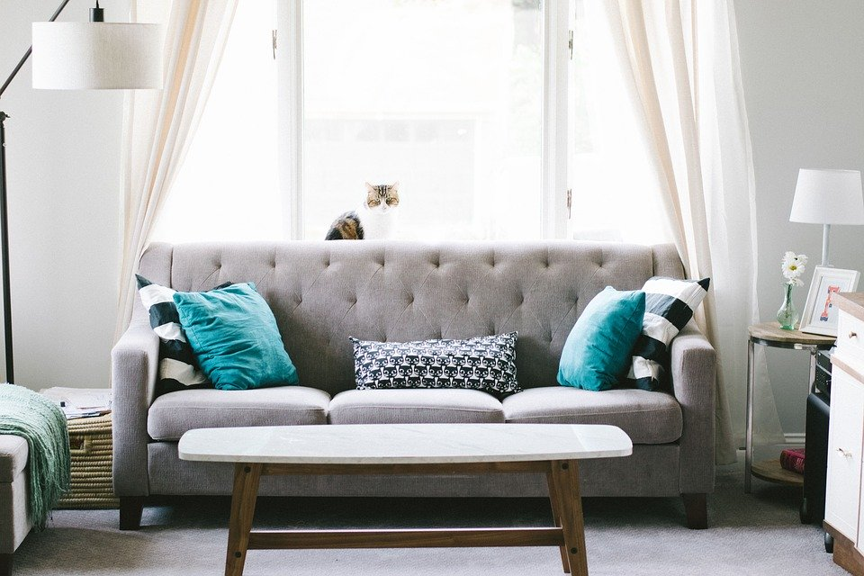 A living room with a light grey couch and two turquoise cushions.