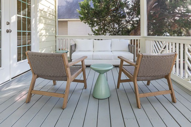 Patio furniture on deck of cottage